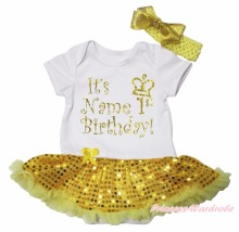 Personalize 1st Birthday White Bodysuit Yellow Bling Sequins Baby Dress NB-18M