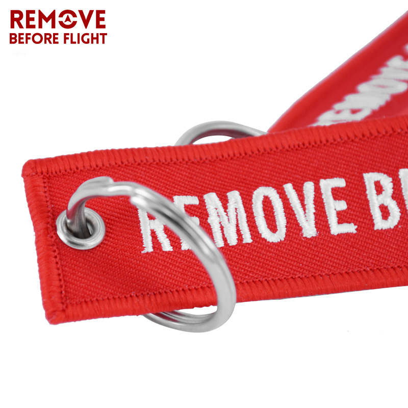 Remove Before Flight Key Chain Chaveiro Red Embroidery Keychain Ring for Aviation Gifts OEM Key Ring Jewelry Luggage Tag Key Fob3