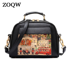 ZOQW Pu Leather Women Leather Handbag Famous Brand Women Messenger Bags Women Shoulder Bag Pouch Printing Female Bag YG1116(China)