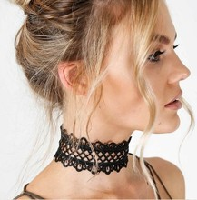 Punk Sexy Fashion Hollow Black Lace Flower Choker Necklace Wide Chunky Gothic Collar Necklace Black&White Choker T4482