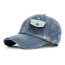 Verano hombres mujeres gorras de béisbol Streetwear bolsillo llano diseño  sombreros sol Denim sombrero(China 749c368bc4f