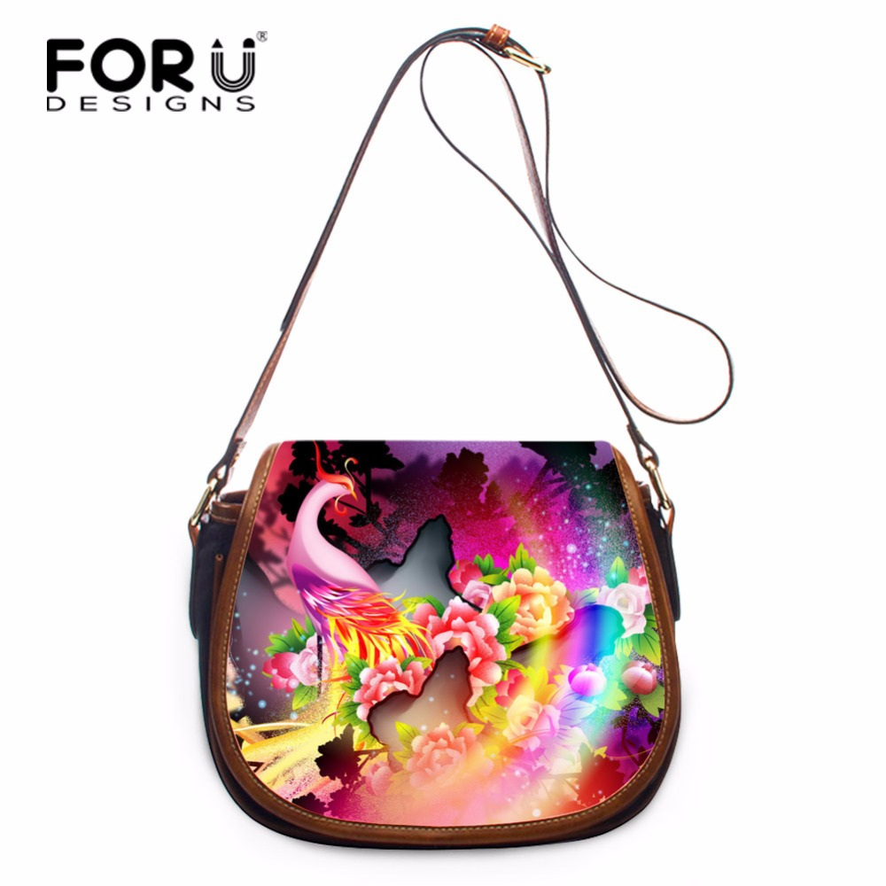 FORUDESIGNS Flowers Pattern Ladies Shoulder Bags PU Leather Women Crossbody Bags Female Messenger Bags with Zipper Carry on Bags<br>