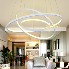 BIBOTE Modern Acrylic chandelier LED circle rings hanging pendant chandelier lights for living room Acrylic Lustre Chandelier