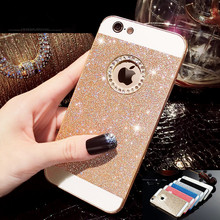 Rhinestone Phone Case Bling Logo Window Luxury Cover coque for iPhone X 8 4 4s 5 5s se 6 6s 7 Plus case Shinning back cases