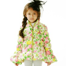 Free Shipping Girl springtime Down Jacket Kid Coat Girl autumn Jacket Duck Down Parkas Patchwork Pattern Printed Fasion Coat