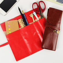 Buy 1 PC High Office School Stationery Retro Roll Leather Pencil Case Multi Function Pencil Bag Student Stationery Supplies for $1.28 in AliExpress store