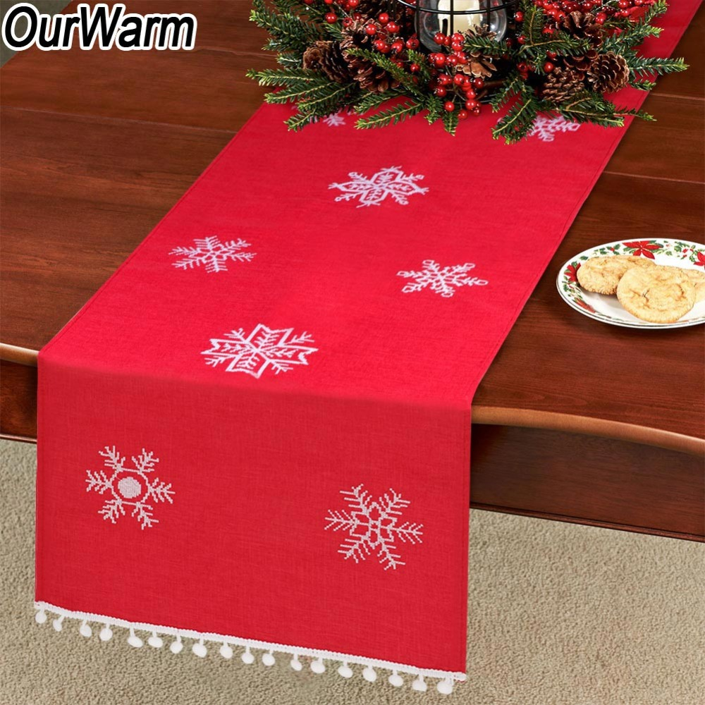OurWarm Christmas Snowflake Table Runner Red with White Home Table Decoration Embroidered Table Runner Party Supplies