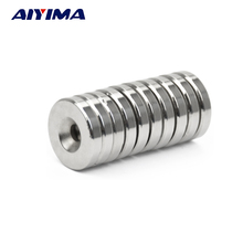 AIYIMA 10pcs 25*5mm With Hole 5mm Strong Magnets Ring Countersunk Rare Earth NdFeB Neodymium Magnetic Tape 25*5*5mm Door Magnet