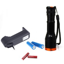 New Outdoors New Focus Torch Light Black (Orange Head) 2000Lm T6 Led Flashlight Focus Torch Eu/US Charger Battery(China)