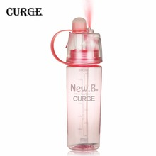 CURGE Outdoor Moisturizing Drinking Portable Atomizing Dual-use Spray Plastic Water Bottle 400ml 600ml Blue Green Pink #1110(China)