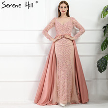 Luxury Pink  Mermaid  Evening Dresses Attachable Train Long Sleeves Beading Crystal Sparkly Evening Gown Robe De Soiree 2017