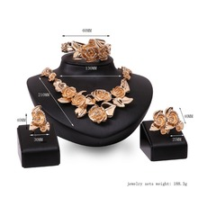 Fashion Rose Flower Shape Gold Color Alloy Necklace Earrings Bangle and Ring set African Bridal Jewelry sets
