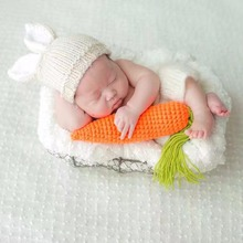Puseky Newborn Photography Props Lovely Rabbit Costume Ears Hat+Pants+Carrot Handmade Cotton Yarn Studio Photography Clothing