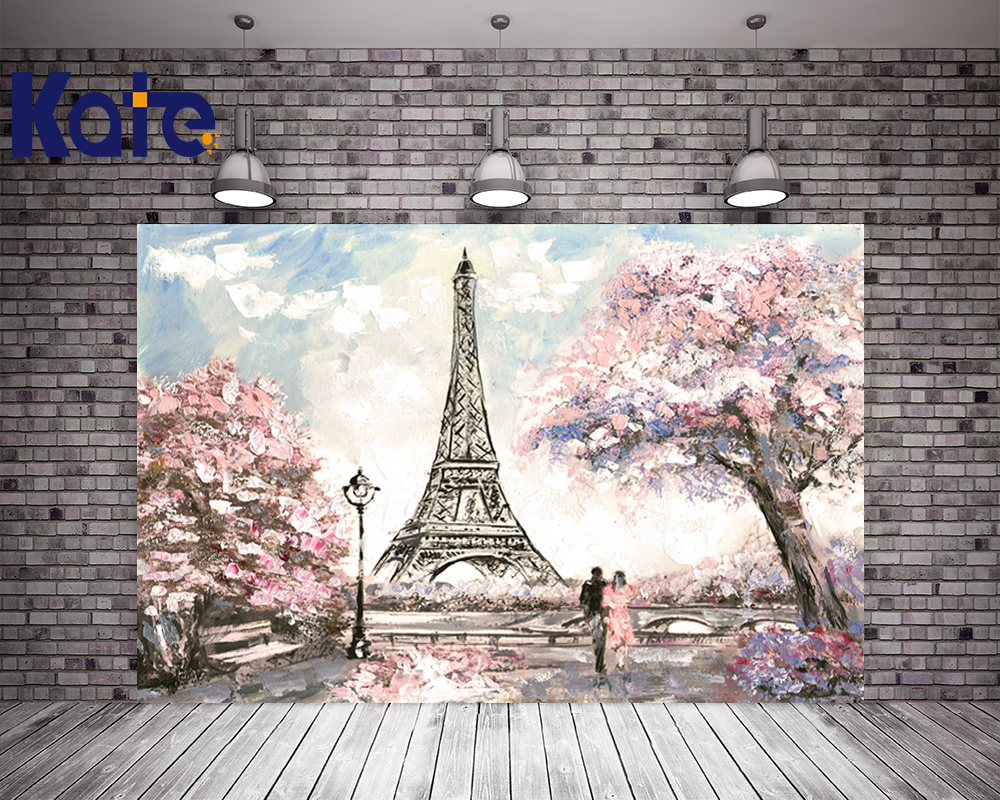 Kate Photography Studio Backgrounds Eiffel Tower Flowers Backdrop For Children,Wedding,Party Backdrops Photo<br>