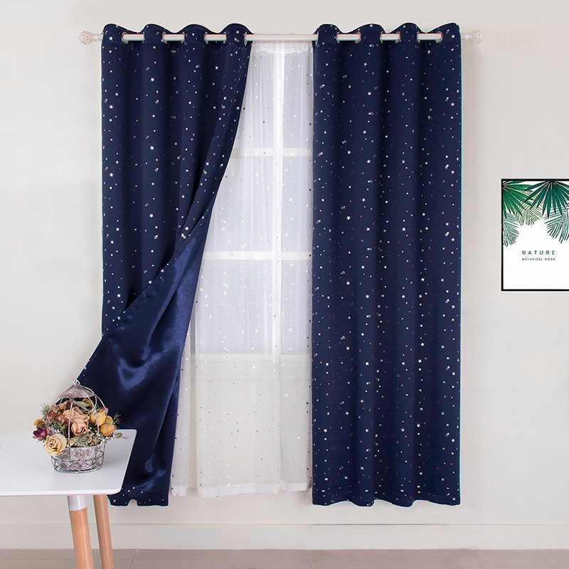 Navy Blue Star Curtains for Kids Room Lovely Printed Curtains for Boys Bedroom Baby Room Curtains Window Drapes
