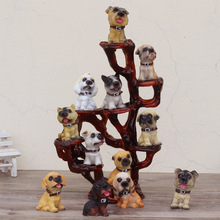 12pcs Mini Cute Dogs with tree stand Home Crafts Decoration Bookcase Decorative Christmas Birthday Gift for Children