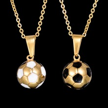 Factory Direct Stainless Steel Football Necklace 3 Styles Soccer Charm Necklace Pendant Natural Stone Sporty Jewelry Gifts