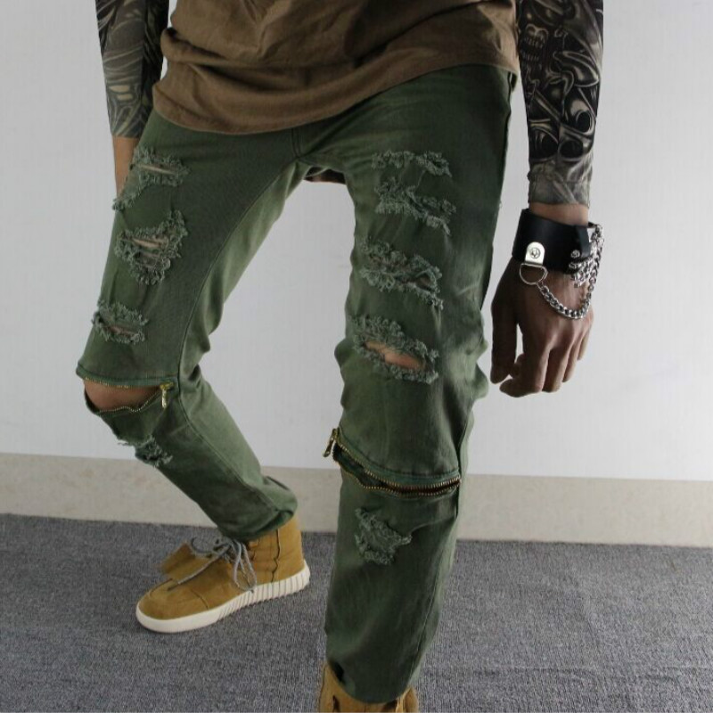 Mens Hole Jeans Special Biker Fashion Zipper Design Pencil Pants Ripped Denim Jean Night Club Casual Slim Skinny Free shippingОдежда и ак�е��уары<br><br><br>Aliexpress