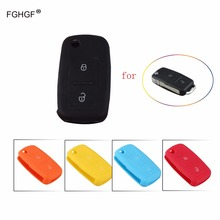 FGHGF 2Buttons Remote Flip Folding Car Key Silicone Shell for VW Volkswagen MK4 Bora Golf 4 5 6 Passat Polo Bora Touran