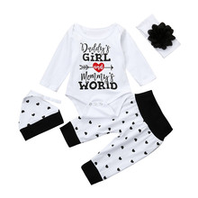 4Pcs Newborn Infant Baby Girl Letter Bodysuit Tops Heart Pants Hat Flower Headband Outfits Clothes Set Long Sleeve Bodysuits(China)