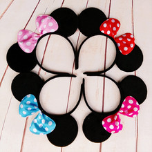 20pcs Christmas Red Bows Minnie Mouse Ears Party Kids Headbands Boys Girl Adult Hair bands birthday supplies Party Accessories(China)