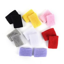 1Pair Men Women Sports Sweatband Wrist Support Tennis Squash Badminton Basketball Bracelet Wristband Gym Wrist Wraps 8x5cm(China)