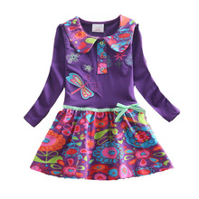 4-8Y Girls Dresses Retail Cotton Child Kids Dress Baby Children Dresses Flower Long Sleeve O-neck Kids Dresses L360(China)
