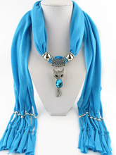 Brand Unique Design Trendy Solid Cute Enamel Fox Animal Pendant Winter Warm Long Tassel Polyester Scarves