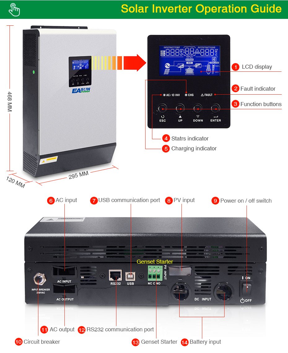 EASUN POWER 20Kw Solar Inverter 80A MPPT Pure Sine Wave Off Grid Inverter 48Vdc 220Vac & 380Vac 60A AC Charger For 1 & 3 Phase06