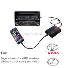For toyota/Lexus/Scion/Camry/Corolla 6+6pin Car CD changge music Interface for iphone7 6 6s 5 5S charge AUX music CD quality