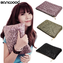 Glitter Sparkling Sequins Dazzling Clutch Evening Party Bag Handbag Bling Purse 9IHX(China)