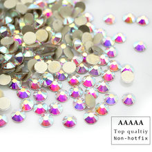 Top quality AAAAA shiny SS3-SS30 Crystal AB flatback rhinestone Iron non- Hotfix glue on Strass Shiny More Bright(China)