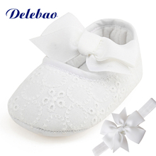Delebao Brand Spring Soft Sole Girl Baby Shoes Cotton First Walkers Fashion Baby Girl Shoes Butterfly-knot First Sole Kids Shoes(China)