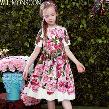 Girls Dresses for Party and Wedding 2017 Brand Summer Dress Princess Costume Rose Bianco Vestido Menina Kids Dress for Girls