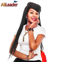 AliLeader Production Kanekalon Box Braids Crochet Hair Medium 12 16 20 24 Inch 6 Colors Afro Bulk Synthetic Hair Weave For Women
