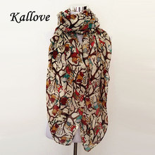 2016 fall fashion women scarves animal printed owl scarf cute scarf owl with branch voile long shawl