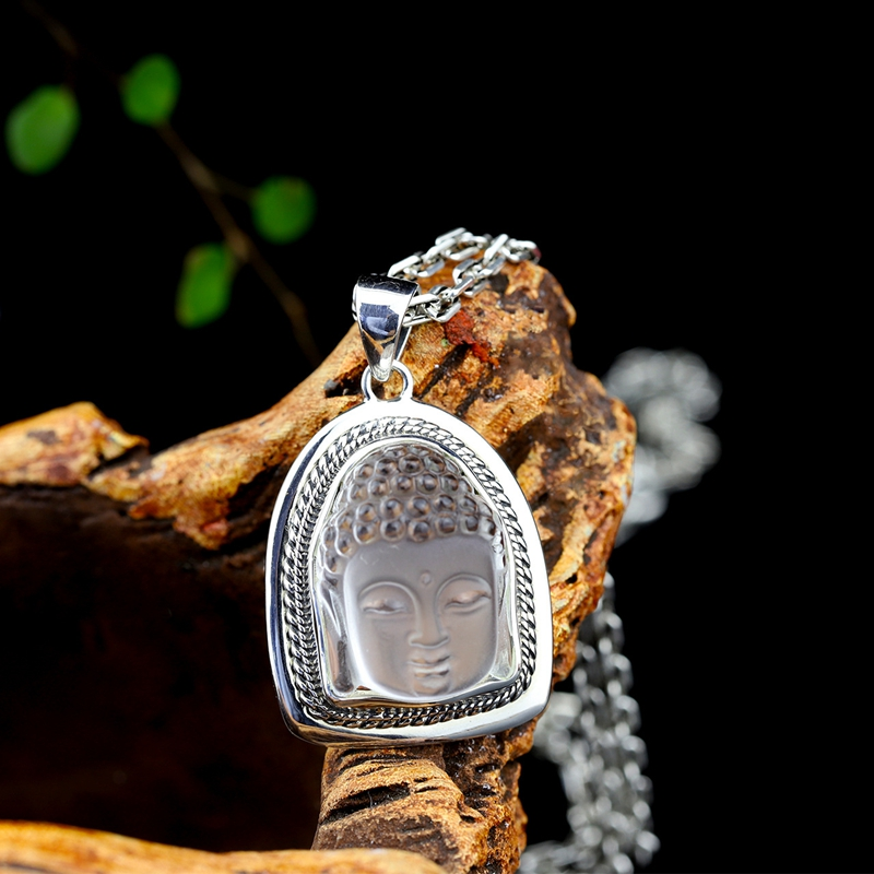 925 sterling silver mosaic natural white crystal Shakyamuni pendants simple fashion Shakyamuni pendants for women man jewelry
