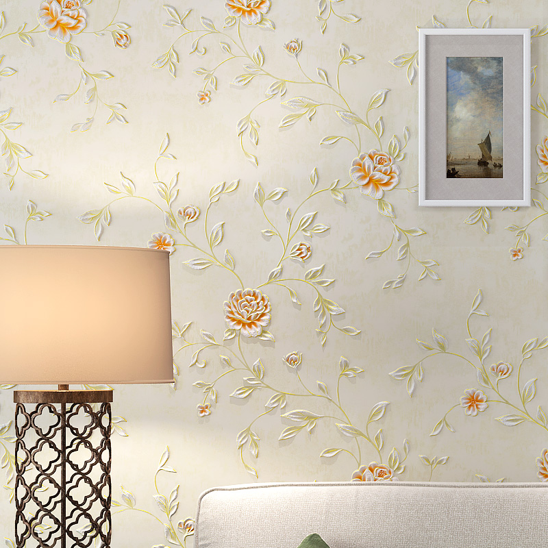 Rustic Wallpaper 3D Stereoscopic Wallpaper Roll Non Woven Pastoral Wallpaper for Walls Bedroom Wall Paper Pink for Living Room<br>