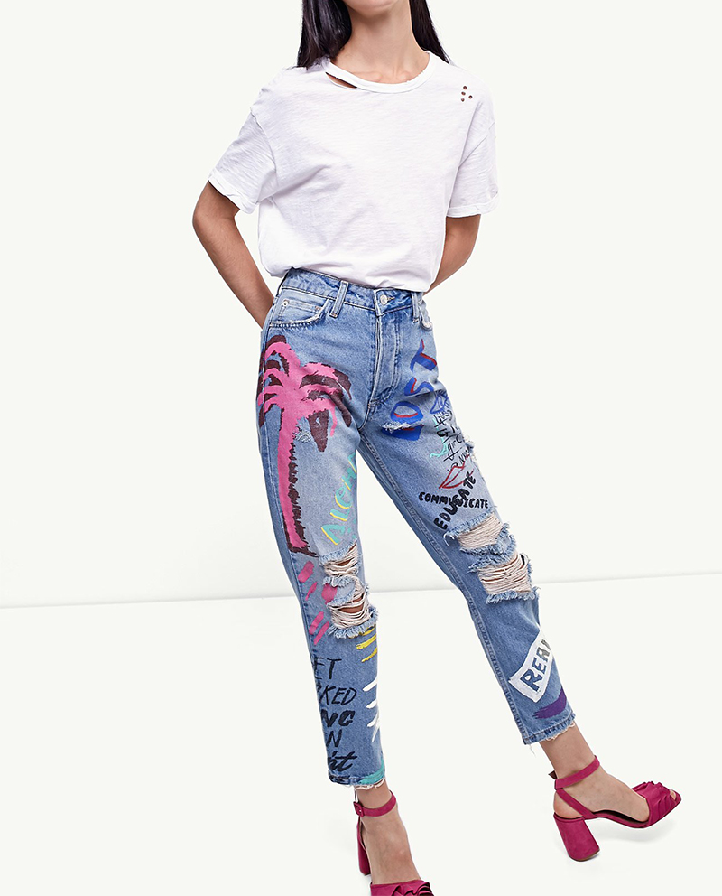 ShejoinSheenjoy Fashion Graffiti Print Jeans Woman High Waist Ripped Jeans For Women Zipper Casual Straight Denim Pants Trousers (10)