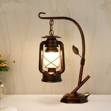 Table Lamps kerosene lantern Vintage American country Cafe creative retro iron lamp LU815301(China)