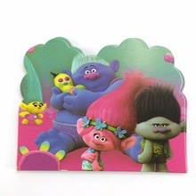 Invitation Card 10pcs Paper Card High  Trolls Cartoon Theme Happy birthday Party Decoration  For Kids Boys favors