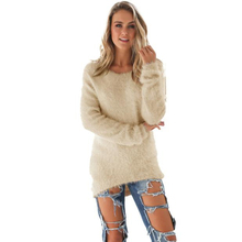 Fashion Casual Long Sleeve Loose Fleece Crocheted Pullover Women Lady Knitwear Autumn Winter Warm Knitted Sweaters Girls Sep13