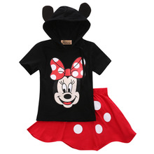 2016 Baby Boy Girls Kids Cotton Minnie Mickey Mouse Cartoon Clothes Short Sleeve Top+Black Skirts Pants 2Pcs Outfit
