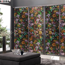 decorative window films sunscreen 92X100cm pvc self-adhesive 3d flower tint print waterproof window stickers Hsxuan brand 923102(China)