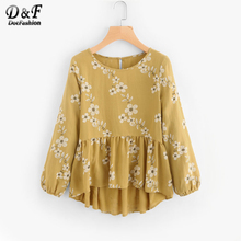 Dotfashion Calico Print Frill Hem Blouse Summer Floral Button Top Ladies Round Neck Long Sleeve High Low Blouse(China)