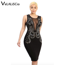 VELALISCIO Summer Dress Women 2017 New Hot Dress Sexy O-Neck Net Drill Dress Short-Sleeved Casual Nightclub Clothing Dress