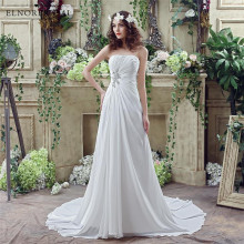 Cheap Wedding Dress Boho 2018 Strapless Vestidos Novia A Line Chiffon Bridal Dresses Custom Made Online Shop China(China)