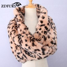 ZDFURS * new arrival real rabbit fur scarf Leopard print scarf luxurious  wholeskin rabbit scarf Neck Warmer  brand cape ring