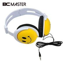 BCMaster Smile Face Boys Girls Kid Wired Headphone Earphone Headset For MP3/MP4/PSP Computer Headset 1.2m Cable(China)