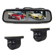 Double Screen 4.3 inch TFT LCD Rearview Car Mirror Monitor + CCD Car Rear View Camera for Rear/ Front / Side View Camera